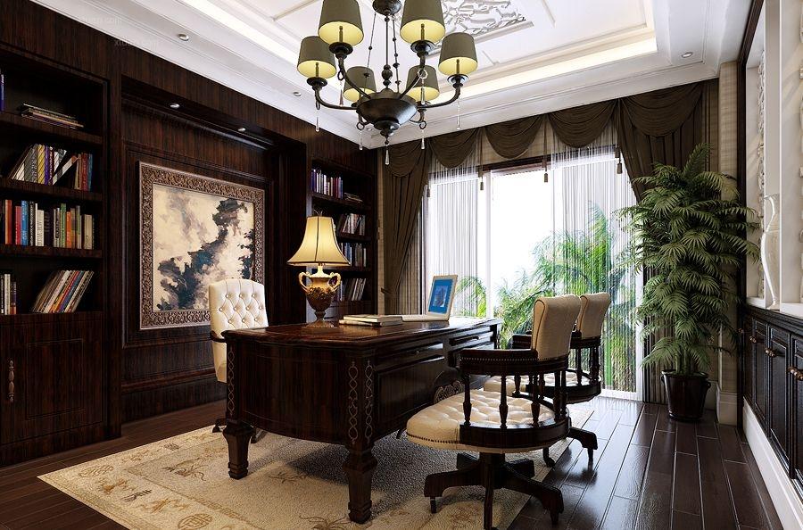 跃层美式风格书房墙绘图片