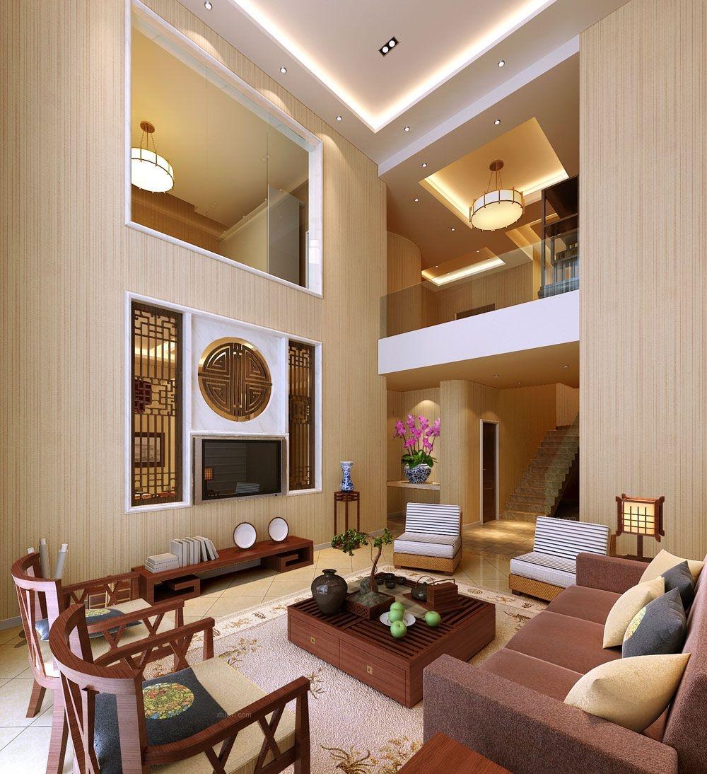 跃层现代简约客厅_江与城现代风格设计装修效果图