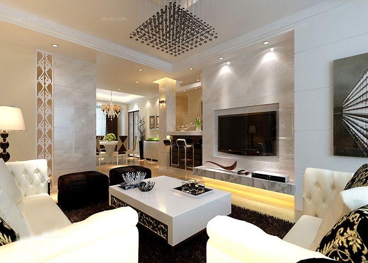 三居室现代简约客厅_现代港式三口之家装修效果图