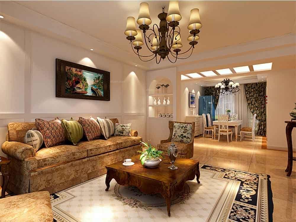 四居室乡村风格客厅沙发背景墙