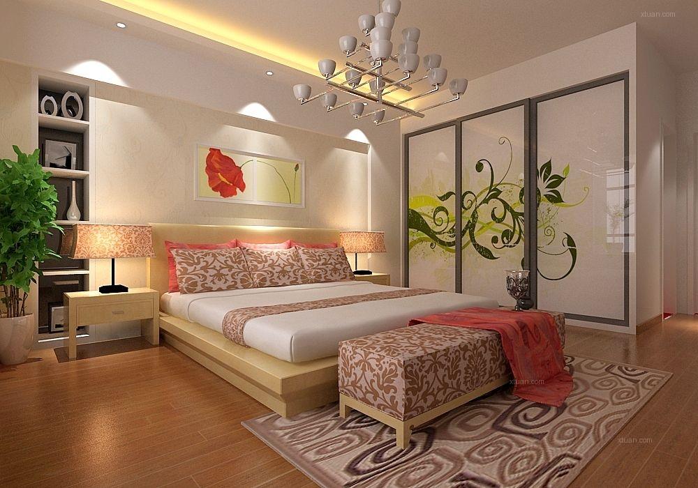 三室两厅现代风格卧室卧室背景墙