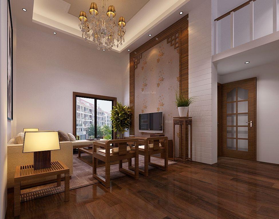 复式楼中式风格客厅软装_融侨天骏装修效果图-x团装修图片