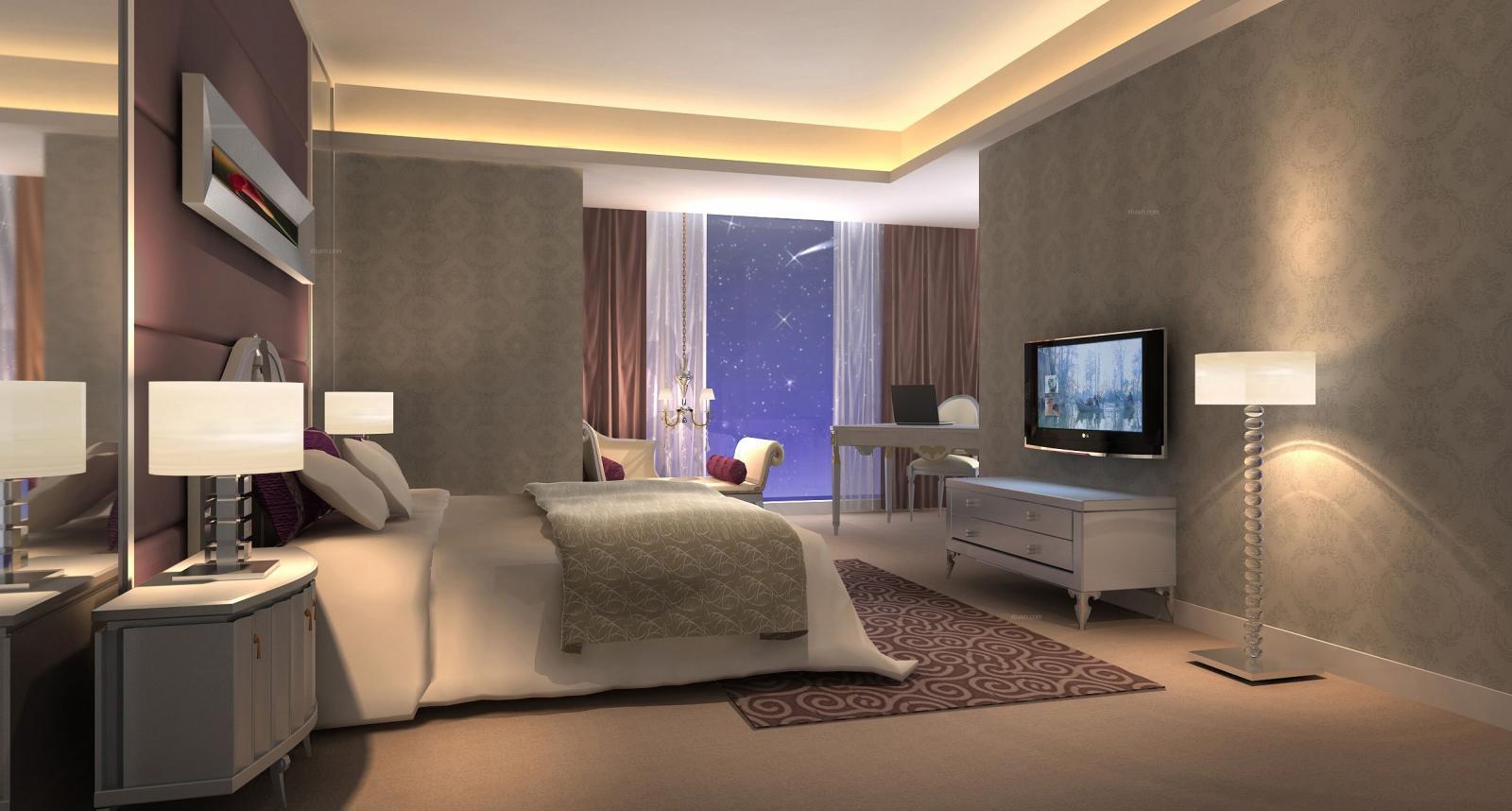 四居室现代风格卧室电视背景墙