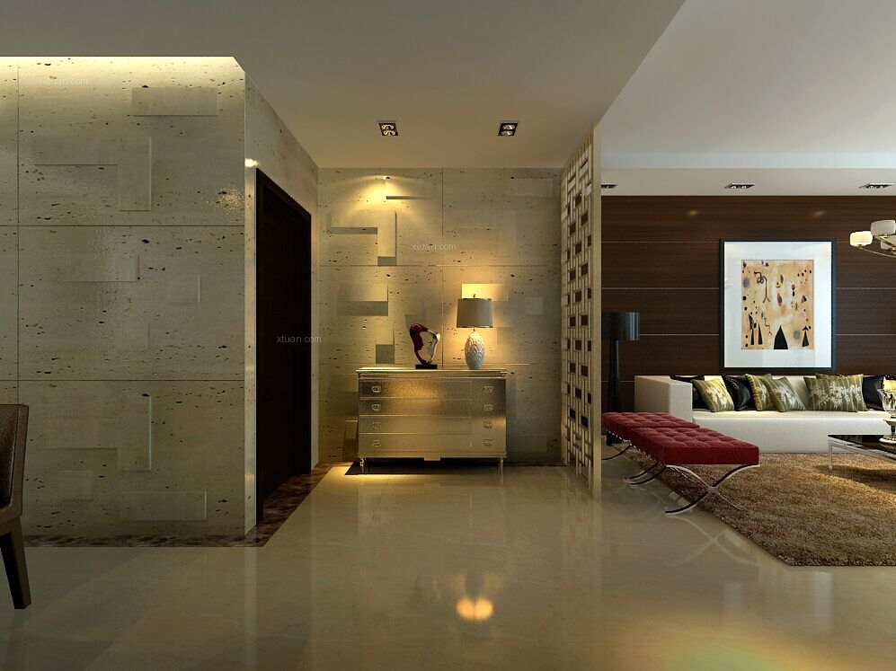 西安楼盘案例效果图:青城-三居室-现代简约风