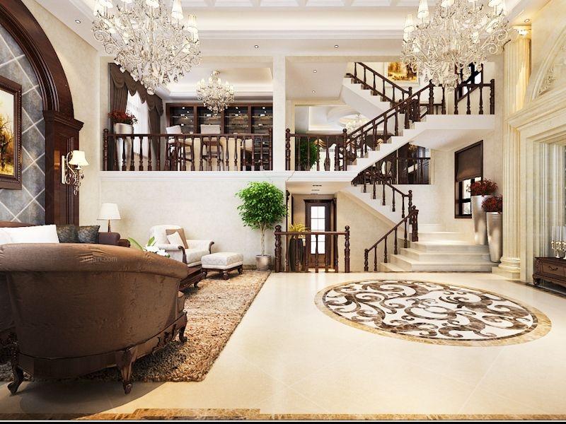 复式楼新古典客厅沙发背景墙图片