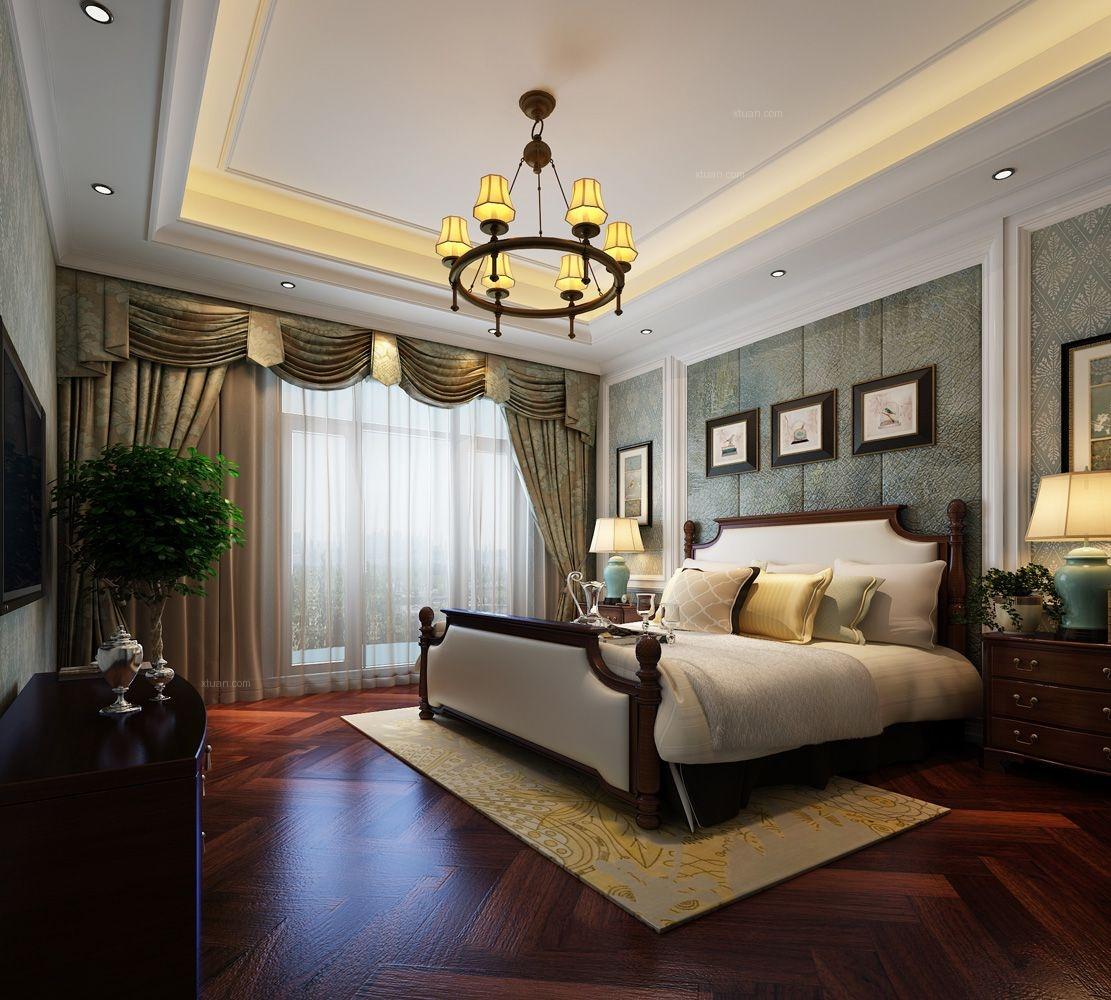 别墅美式风格卧室_高成上海假日别墅简美风格设计装修图片