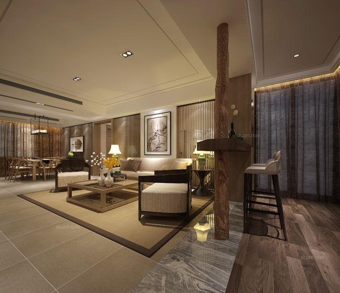 三居室中式风格客厅地台