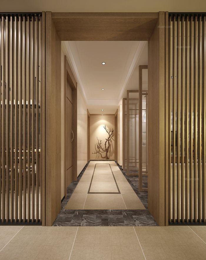 三居室中式风格过道隐形门
