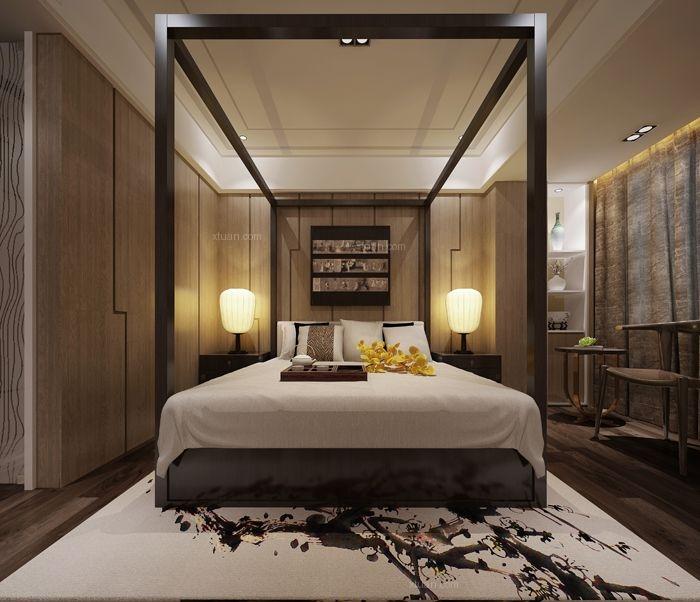 三居室中式风格卧室卧室背景墙