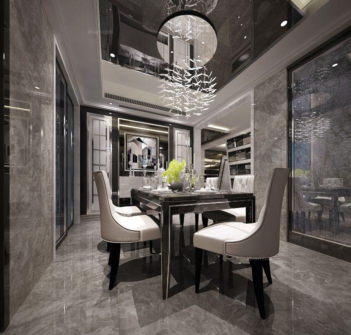 四居室现代简约餐厅开放式厨房
