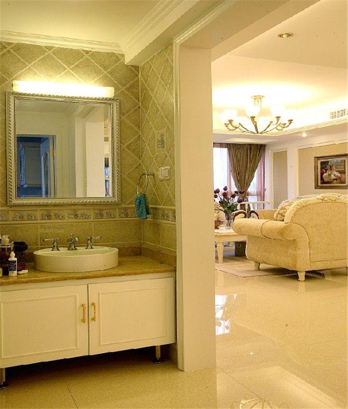 三居室现代风格卫生间开放式厨房图片