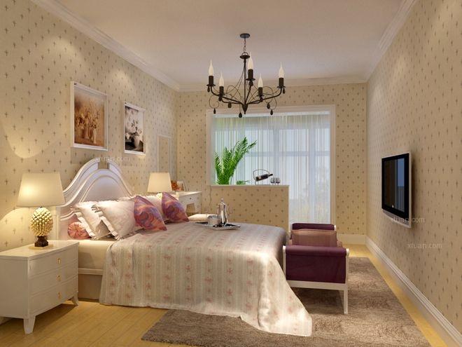 三居室田园风格卧室电视背景墙