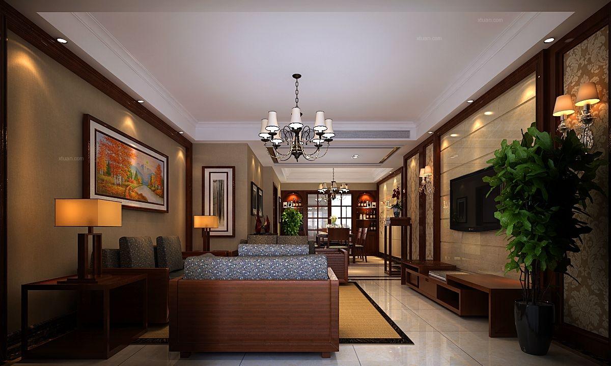 三室两厅日式风格客厅沙发背景墙