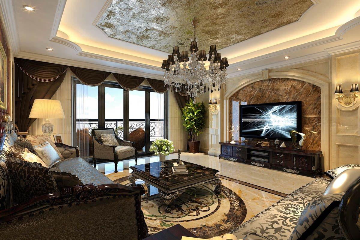 四居室欧式风格客厅_中铁元湾17#装修效果图