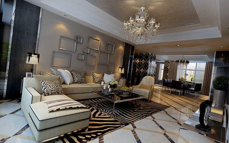 盛和天下123平米  现代简约风格  哈尔滨麻雀装饰公司