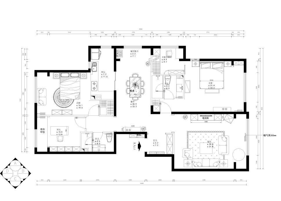 三居室中式风格交换空间