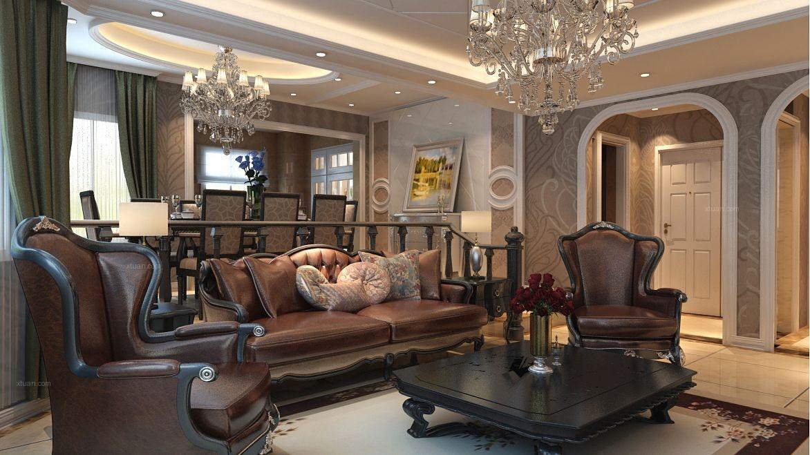 复式楼古典风格客厅沙发背景墙