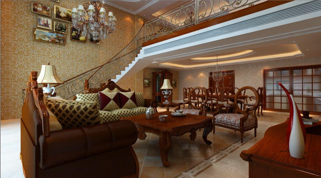 复式楼古典风格客厅照片墙