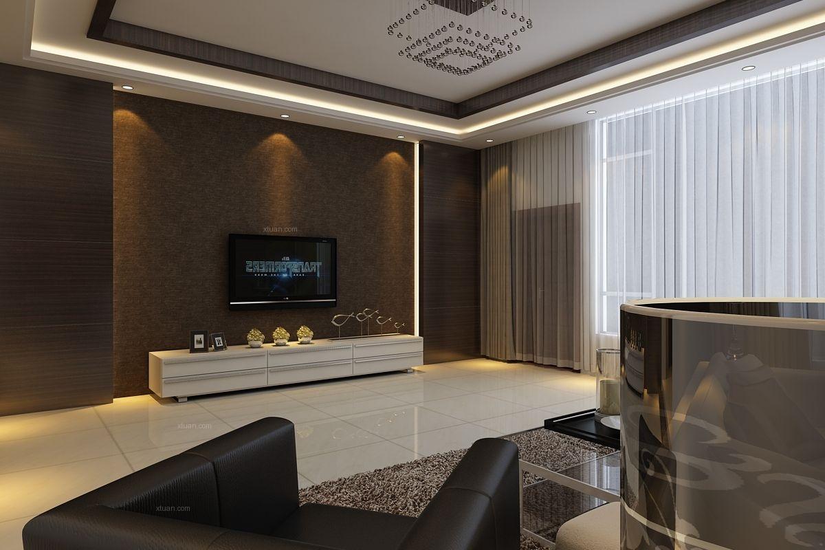 复式楼现代简约客厅电视背景墙