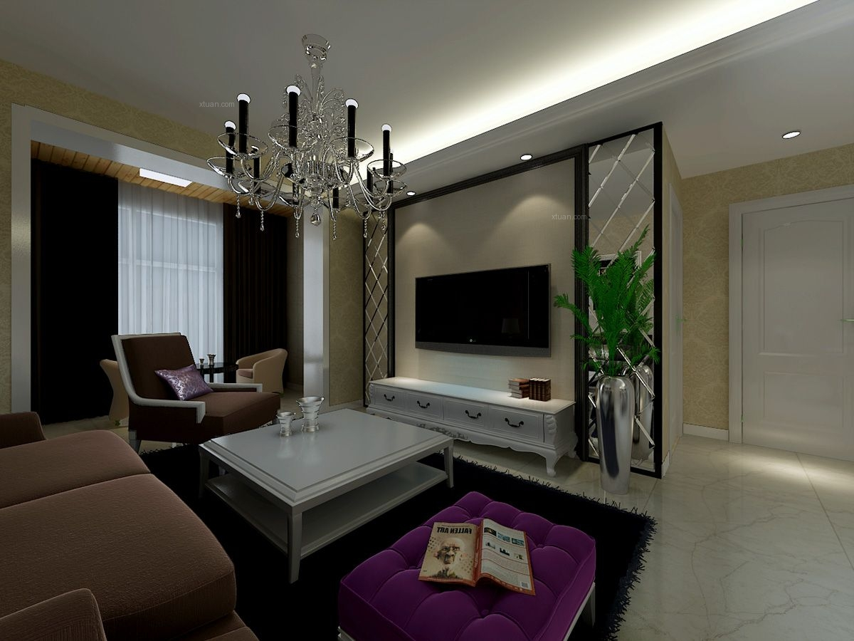 两室一厅简欧风格客厅电视背景墙