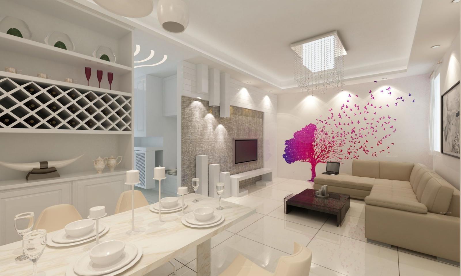 两室两厅现代简约客厅照片墙