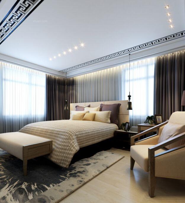 三居室中式风格卧室沙发背景墙