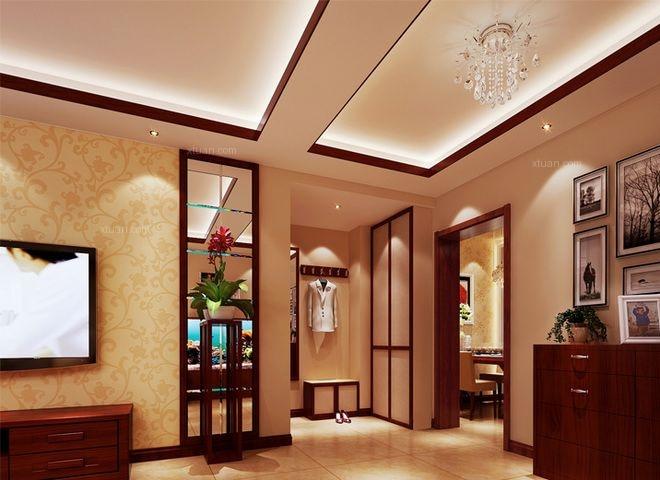 三居室中式风格客厅墙绘