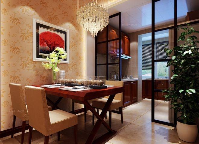 三居室中式风格餐厅墙绘