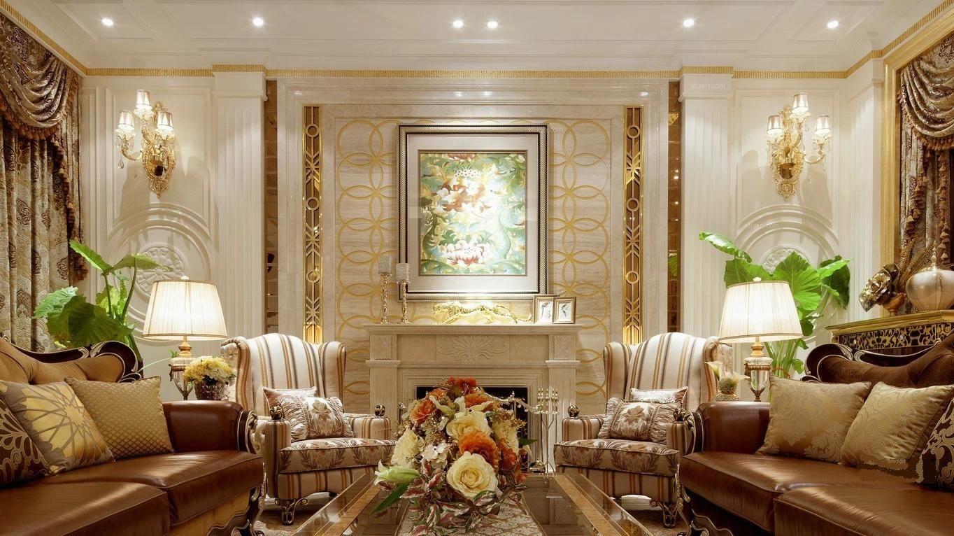 联排别墅欧式风格客厅沙发背景墙图片