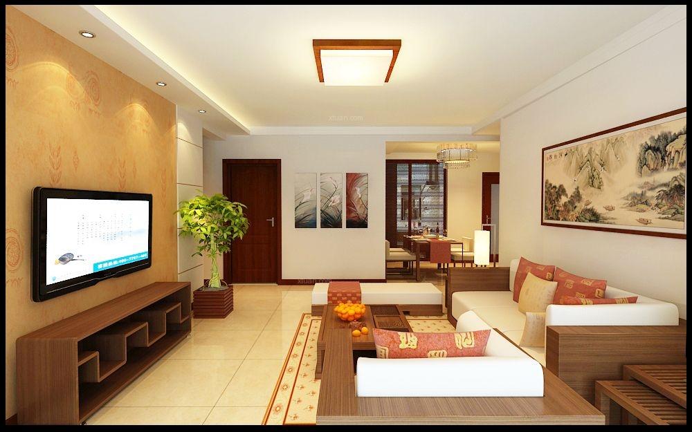 三居室中式风格客厅电视背景墙