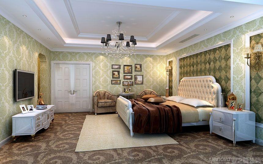 跃层欧式风格卧室电视背景墙图片