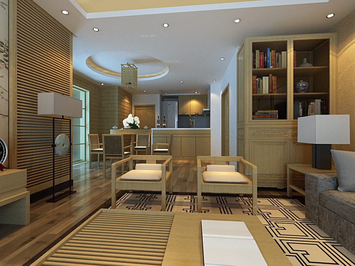 三居室中式风格客厅
