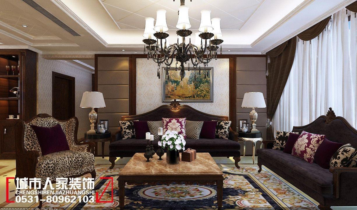 四居室客厅沙发背景墙_华润中央公园160欧式风格装修图片