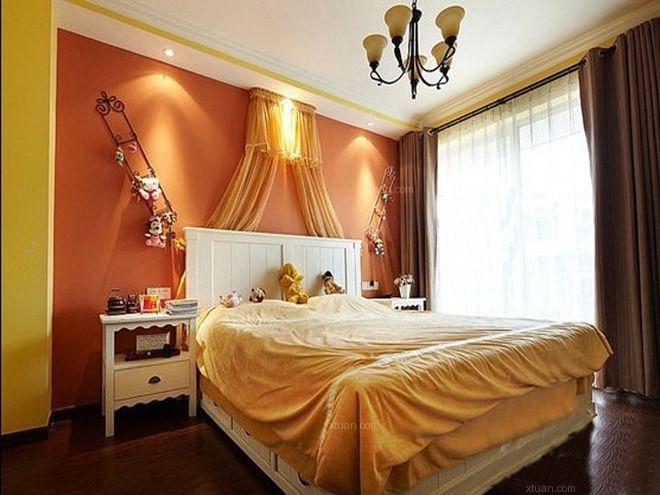 跃层地中海风格主卧室卧室背景墙