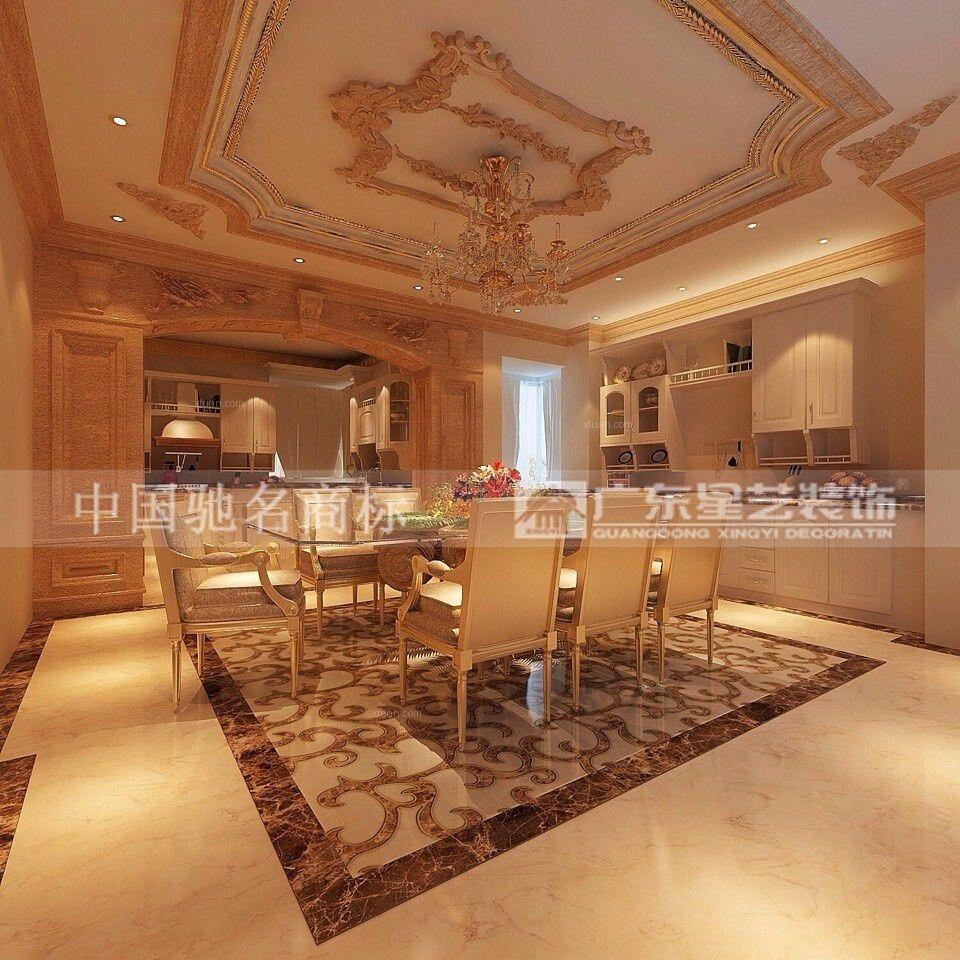 独栋别墅新古典餐厅开放式厨房