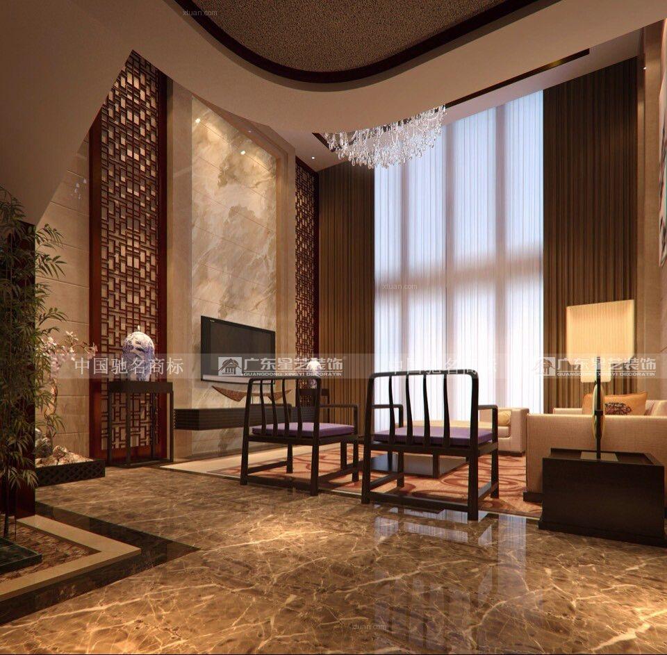 独栋别墅中式风格客厅电视背景墙图片