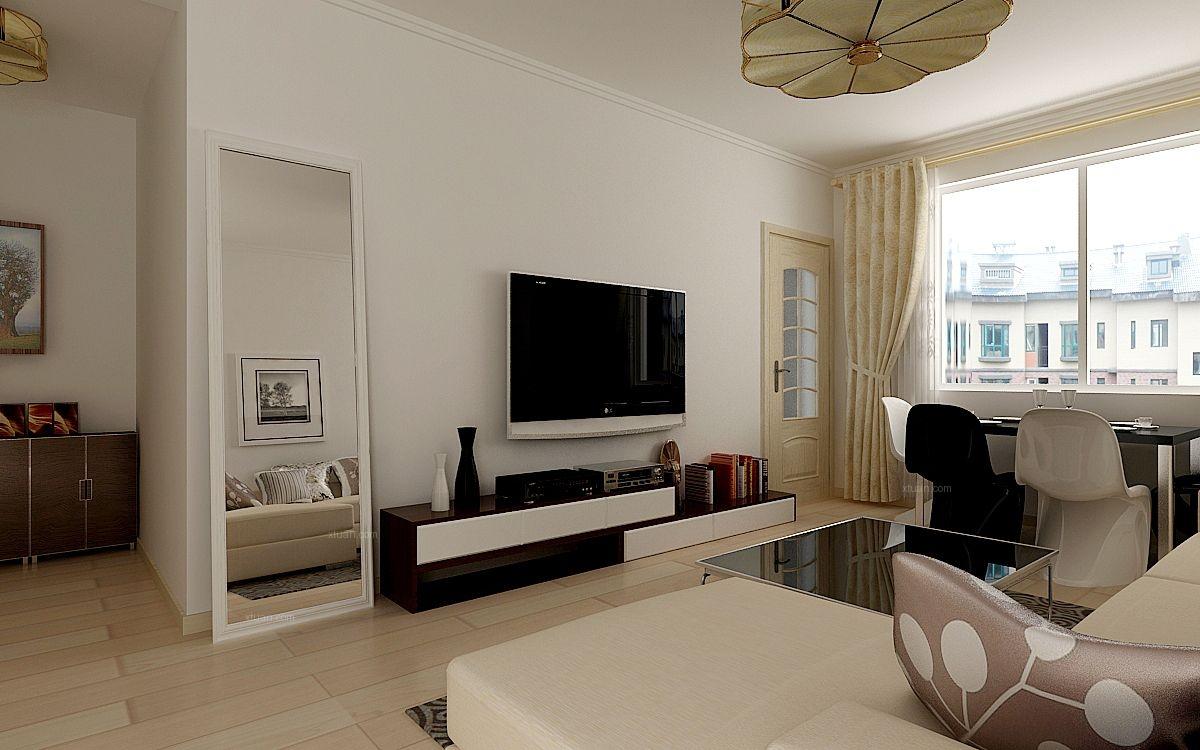 两居室现代简约客厅_富海蓝湾半岛两居室简约风格装修