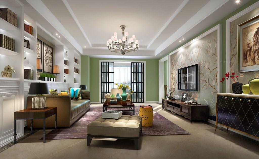 三室两厅美式风格客厅沙发背景墙图片