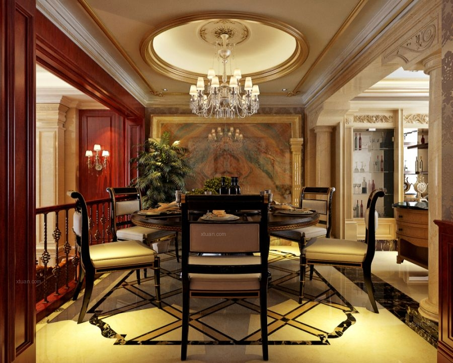 别墅欧式风格厨房_绿地剑桥350平别墅设计装修效果图图片