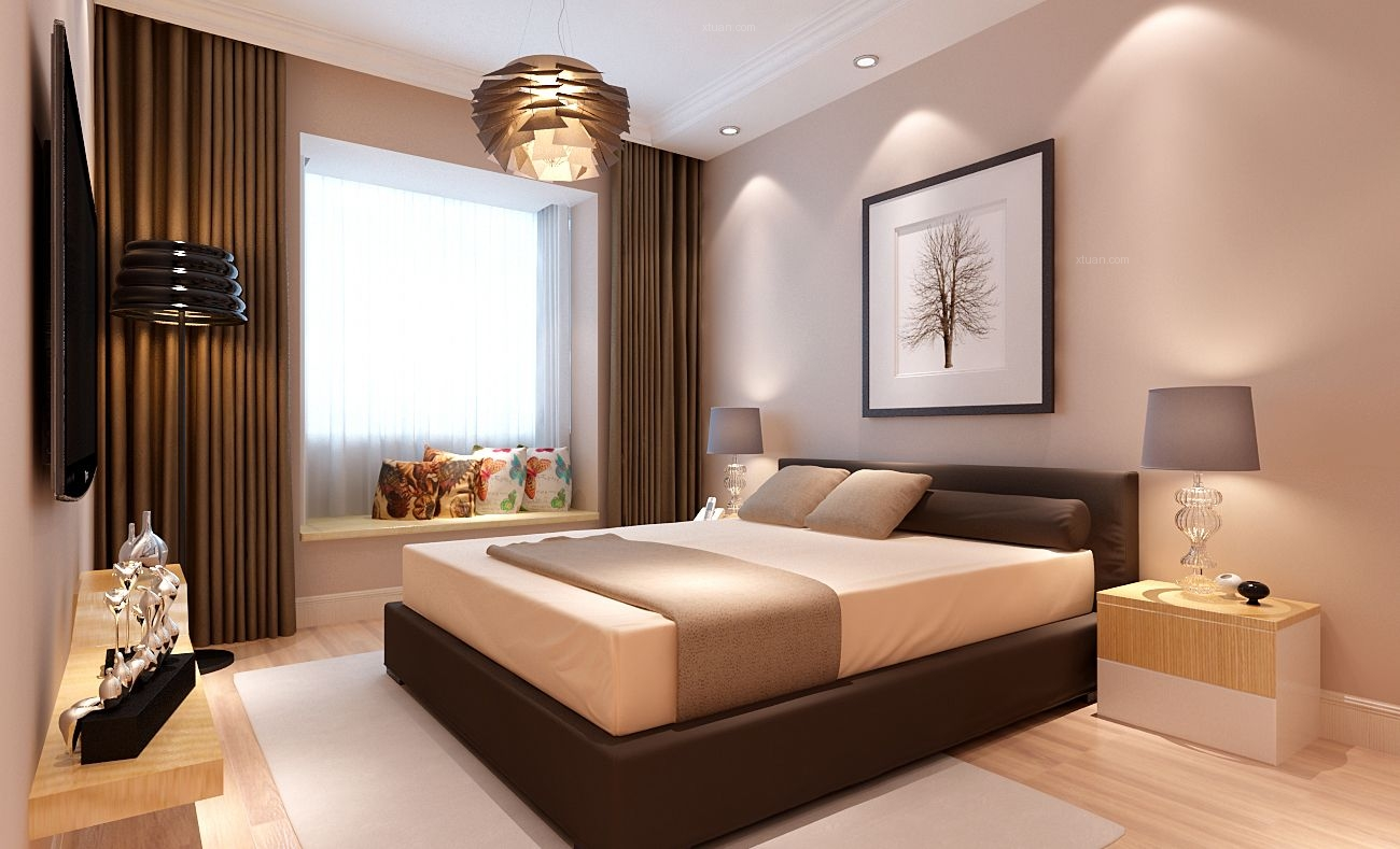 三室两厅现代简约卧室卧室背景墙
