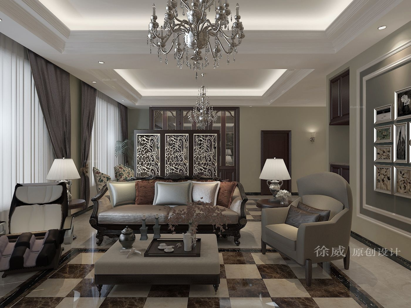 大户型新古典客厅