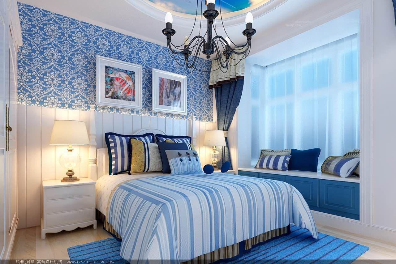 两居室地中海风格卧室卧室背景墙