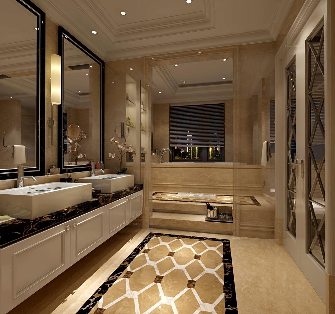 别墅欧式风格卫生间_华润外滩九里国际公寓装修效果图