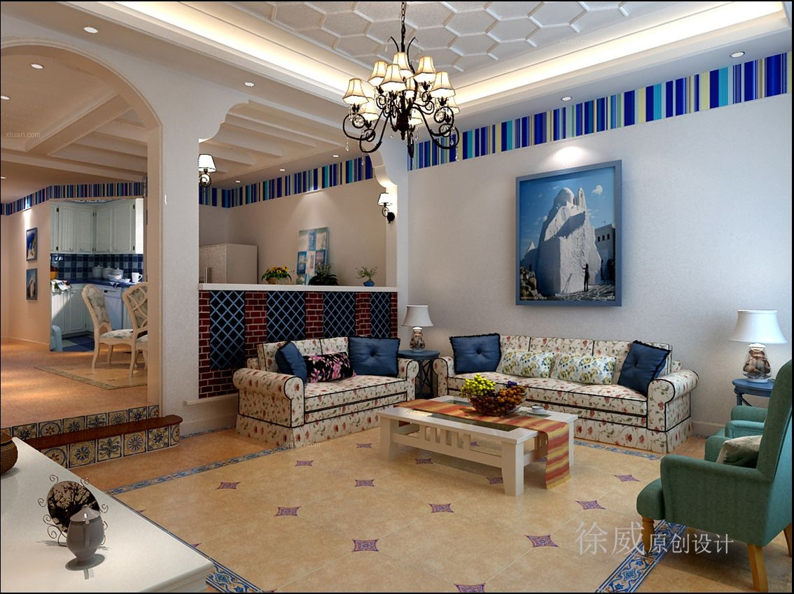 独栋别墅地中海风格客厅