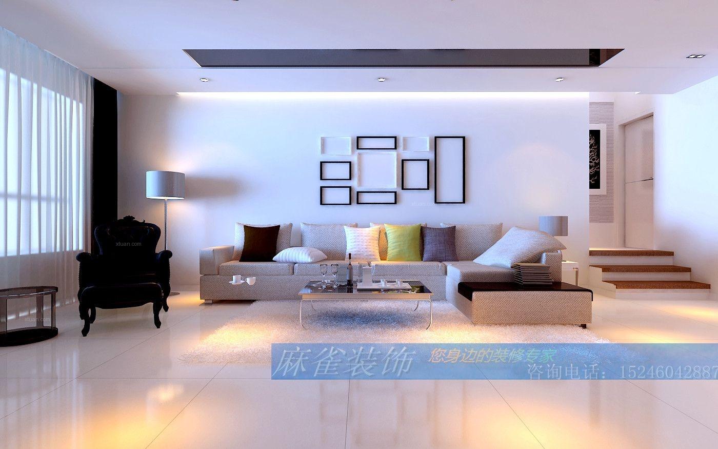 两居室现代简约客厅_现代简约装修效果图-x团装修网