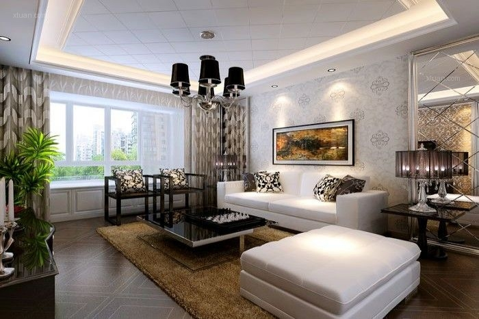 两居室简欧风格客厅沙发背景墙