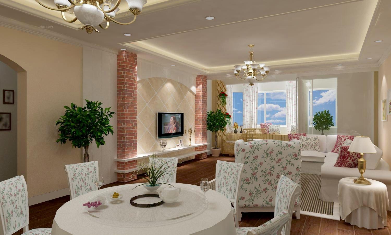 三居室简约风格客厅电视背景墙