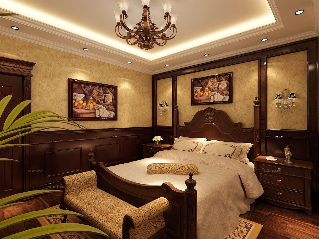 别墅美式风格卧室_琥珀湾360平别墅设计装修效果图-x图片