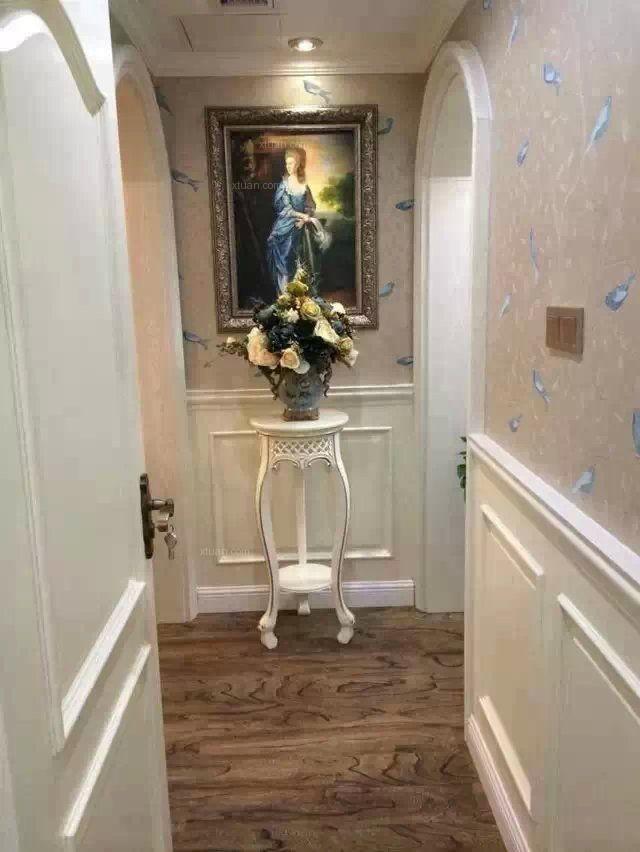 三室两厅简欧风格玄关墙绘图片