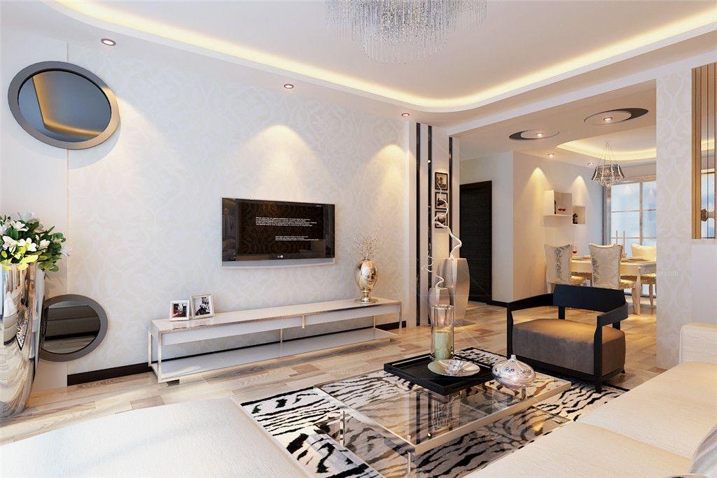 两居室现代简约客厅电视背景墙_益格风情湾二期装修